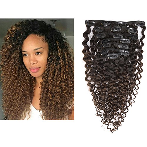 Beauty : Kinky Curly Hair Extension Clip in Human Hair Extensions 10-22 inch 7Pcs/120G Ombre Natural Black Hair Extensions Colored Two Tone Dark Brown 3B 3C For Black Women (12 inch, Ombre #1B/4 Curly)