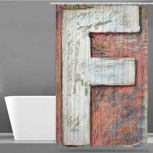 VIVIDX Polyester Fabric Shower Curtain,Letter F,Grunge Typographic Design Alphabet Printing Letterpress Theme Uppercase F Image,Art Print Polyester,W48x84L Multicolor (Shower Curtain With Letter F)