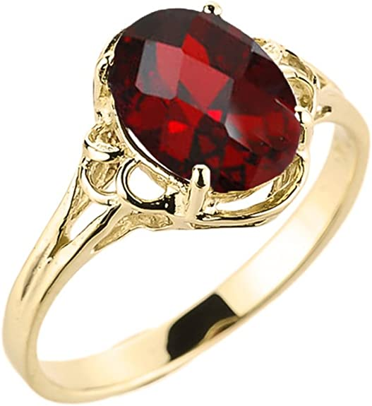 Modern Contemporary Rings 10 carats Or Jaune Oval Rouge Grenat: Claddagh