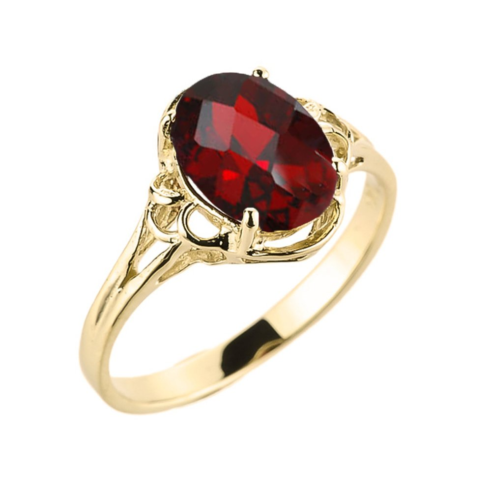 Elegant 10k Yellow Gold January Birthstone Genuine Garnet Gemstone Solitaire Ring (Size 7) by Modern Contemporary Rings