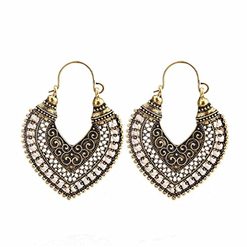 3 Female Costumes (Fashion Earrings, UMFun Women Jewelry Bohemian Earring Vintage Hollow Fringed Bead Feather Long Earring (A))