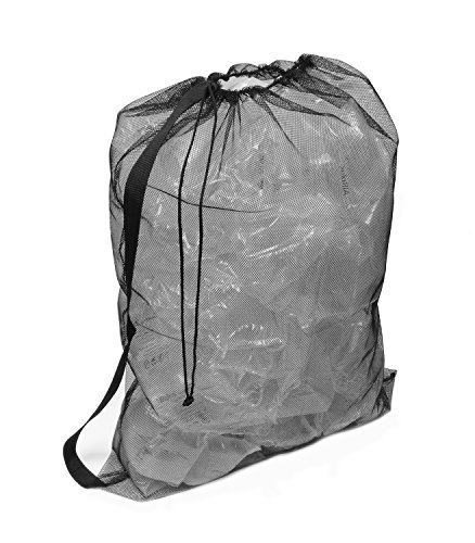 Get Out! Lightweight Extra Large Nylon Mesh Drawstring Backpack – Soccer Ball Sports Equipment, Dirty Laundry, Gym Bag by Get Out!