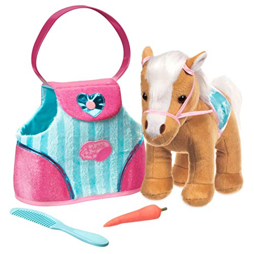 Pucci Pups by Battat – Beige Horse with Blue Stripes and Pink Pony Bag ()