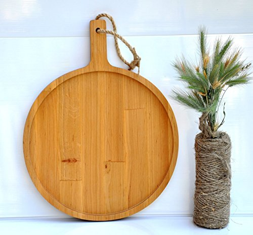 12' Round Serving Tray (12'' round wood serving tray Wooden cutting board Wood round appetizer platter Wooden platter for snacks Alder serving tray Appetizer tray wood)