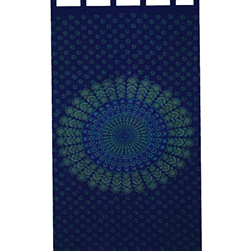 India Navy Blue Handloomed Cotton Mandala Peacock Tab Top Panel Curtain Window (Tab Top Tapestry)