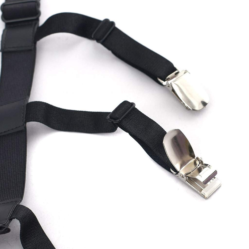 Easong Upgraded Mens Shirt Adjustable Stays Holders Elastic Garter Belt Suspender Locking Clamps with Non-Slip Locking Clamps Keep The Suit Dress or Uniform Tucked Adjustable Elastic Garter Belt