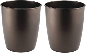 mDesign Round Metal Small Trash Can Wastebasket, Garbage Container Bin for Bathrooms, Powder Rooms, Kitchens, Home Offices - Steel - 2 Pack - Bronze