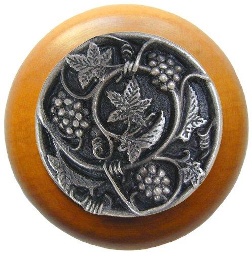 Notting Hill Decorative Hardware Grapevines Wood Knob, Antique Pewter, Maple wood finish