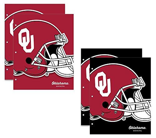 University of Oklahoma Sooners 2-Pocket School Folders, 4 Pack, 9.5