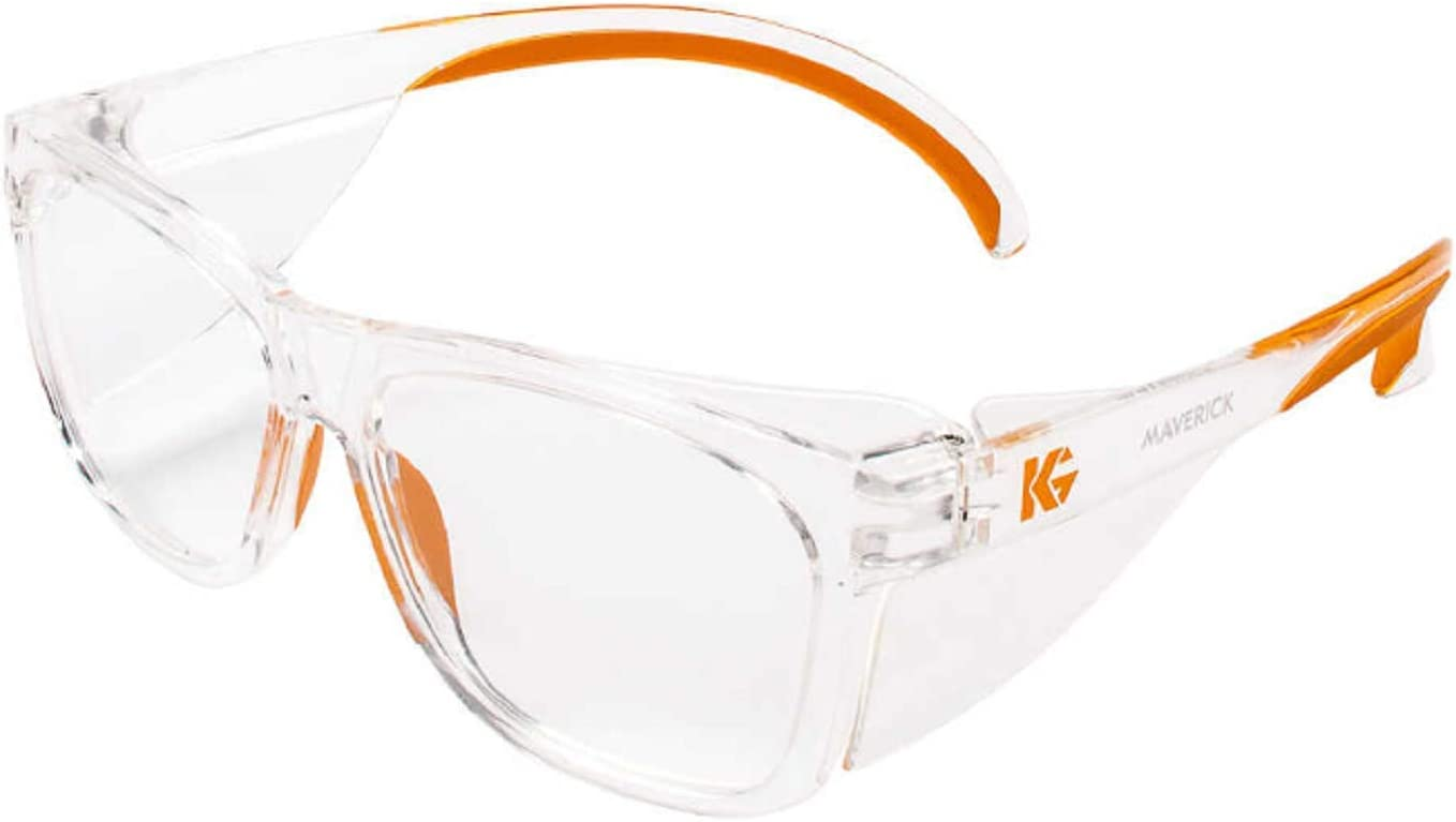 Kleenguard Maverick Safety Glasses with Intergrated Side Shields (1 Pair) (49301 Clear Anti-Fog Lens with Clear Frame and Orange Tips)