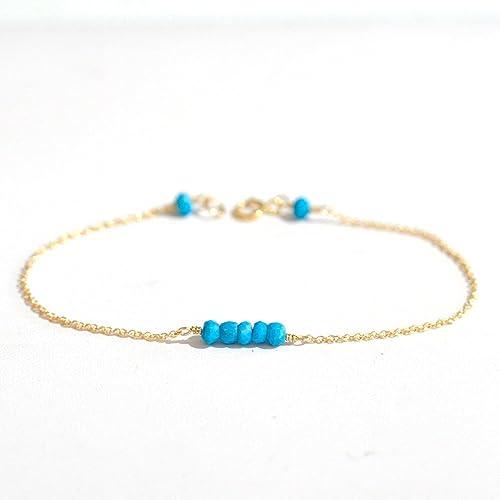 Amazon Com Tiny Turquoise Gold Bracelet Gemstone Bar Bracelet