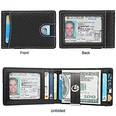 Money Clip Wallet - Mens Slim Front Pocket Leather Wallet RFID Blocking Minimalist Mini Wallet