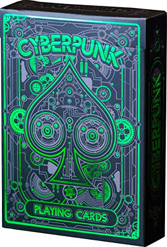 Deck Card Designs - Cyberpunk Playing Cards, Green Deck of Cards, Premium Card Deck, Best Poker Cards, Unique Bright Colors for Kids & Adults, Card Decks Games, Standard Size