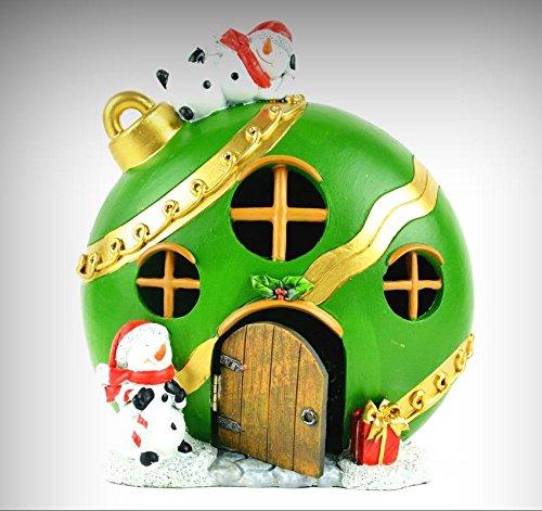 (Fairy Garden Fun Christmas Miniature Green Ornament Fairy House LED Lighted - My Mini Fairy Garden Dollhouse Accessories for Outdoor or House Decor)