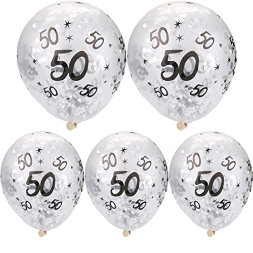Yeefant 5Pcs 50th Happy Birthday Age Confetti Filled Balloons Wedding Party Decor Hanging Set for Living Room Bedroom,Silver