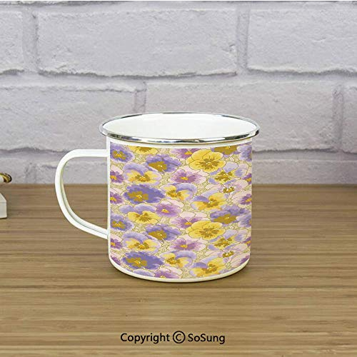 Floral Enamel Camping Mug Travel Cup,Hand Drawn Pansy Flowers Garden Botanical Artistic Watercolor Pattern,11 oz Practical Cup for Kitchen, Campfire, Home, TravelLavander Lilac Yellow