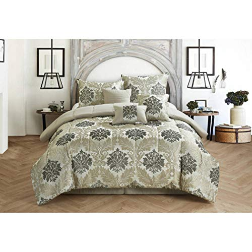 7 Piece Jacquard Beige Comforter Set Queen, Beautiful Moroccan Geometric Motif Scroll Design Printed Teen Themed Dark Metallic Beige, Elegant Modern Kids Bedding for Bedroom, Polyester