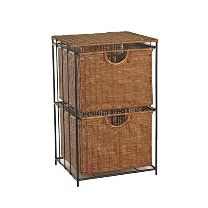 Merveilleux Two Drawer Mobile Wicker File Cabinet