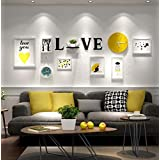 Small Fresh Style Photo+racks Combination Living Room/bedroom Decorated Painting,Creative Wall Hanging Solid Wood Frame,7 Picture Frame+Yellow Wall Clock+acrylic Letters Wall Sticker+Shelf(Without Ornaments)