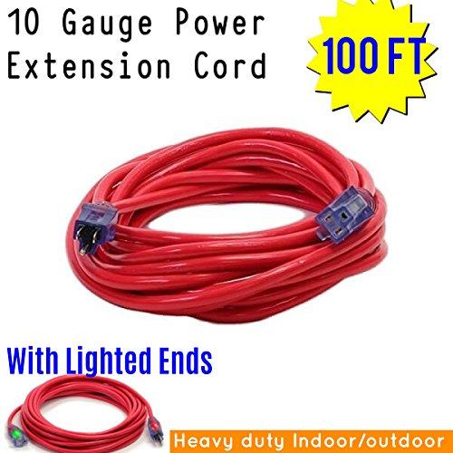Century Contractor Grade 100 ft 10 Gauge Power Extension Cord 10/3 Plug, 10 ft outdoor extension cord, heavy duty extension cord extension cord With Lighted Ends (100 ft 10 Gauge, red extension cord) -