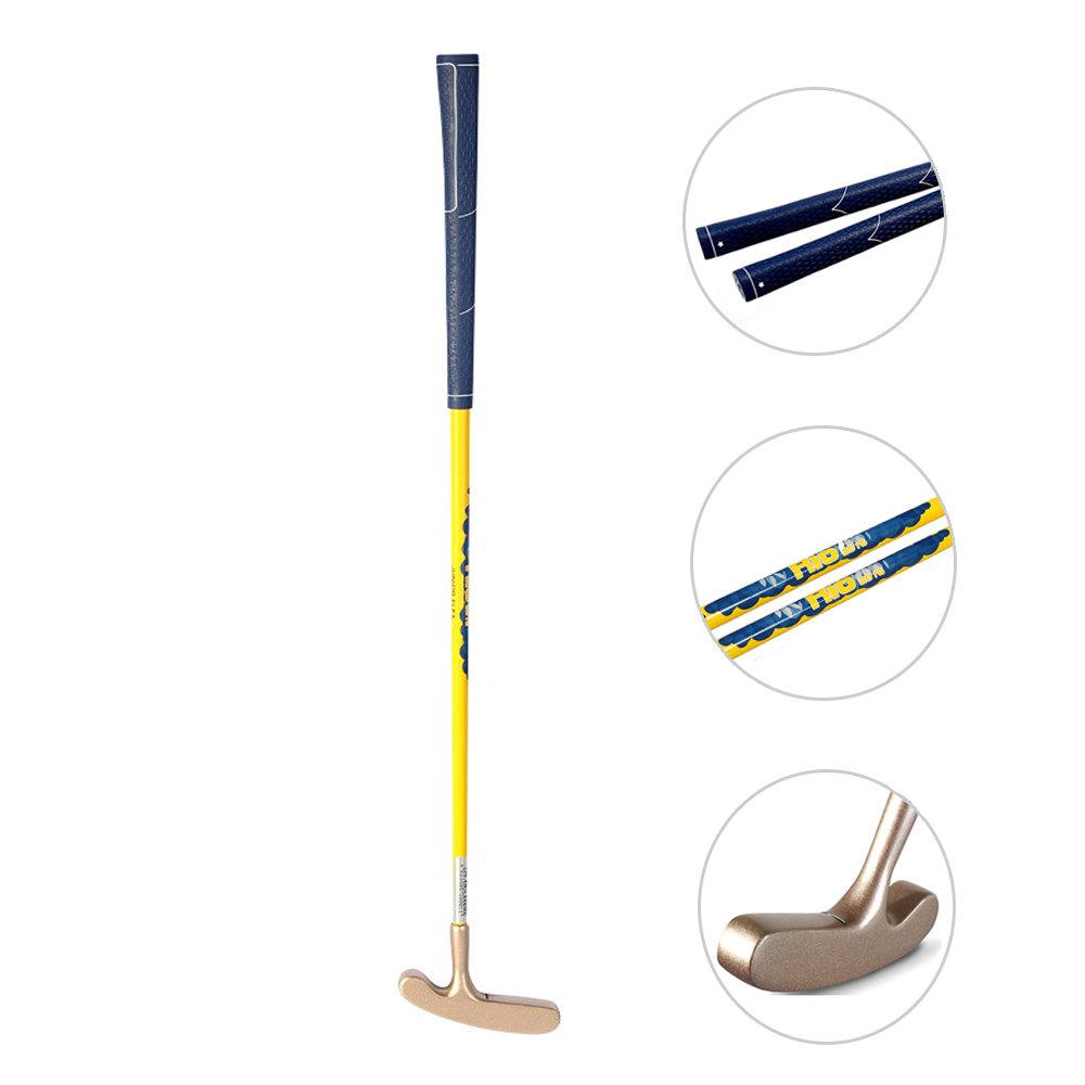Acstar Two Way Junior Golf Putter Kids Putter Both Left and Right Handed Easily Use 3 Sizes for Ages 3-5 6-8 9-12(Gold Head+Yellow Shaft+Blue Grip,27 inch,Age 6-8) by Acstar