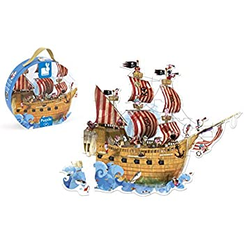 Amazon Com Janod Pirate Ship Giant Floor Puzzle Toys Amp Games