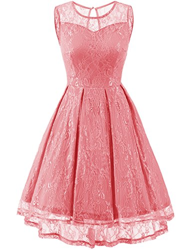 Gardenwed Women's Retro Floral Lace High Low Homecoming Dress Cocktail Party Gown Bridesmaid Dress Coral S (Coral Lace Gown)