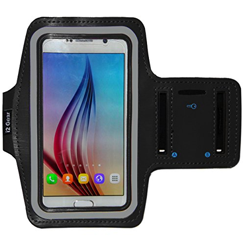 Galaxy S8, S6 / S6 Edge, iPhone X Running & Exercise Armband with Key Holder & Reflective Band (Black) from i2 Gear