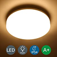 LE Ceiling Light Waterproof, 100W Equivalent, 15W 1250lm, Warm White 3000K, IP54 LED Ceiling Light for Bathroom, Kitchen, Hallway, Utility Area and More
