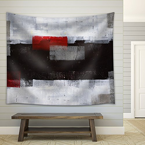 Grey and Red Abstract Art Painting Fabric Wall