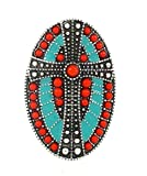 Cross Indian Aztec BT Stretch Ring Turquoise Blue Coral