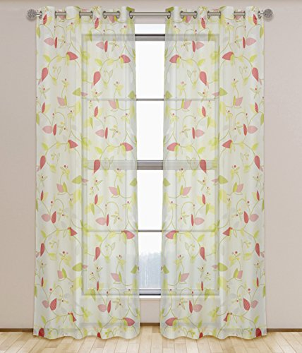 LJ Home Fashions Thyme Sheer Botanical Leaf Print Grommet Curtain Panels (Set of 2) 52x95-in, White/Green/Red (Hall Floral Print)