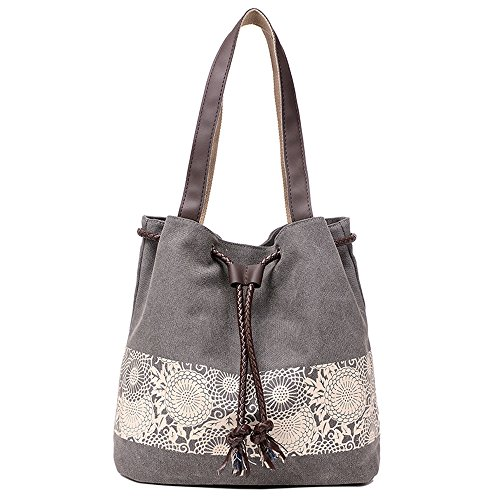 Hiigoo Printing Canvas Shoulder Bag Retro Casual Handbags Messenger Bags (Grey) ()