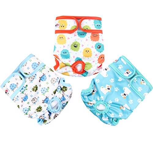 Wegreeco Luxury Washable Reusable Dog Diapers (New Pattern) - Durable Female Dog Diapers, Stylish Doggie Diapers, 3 Pack (Inspiring, Extra Large)