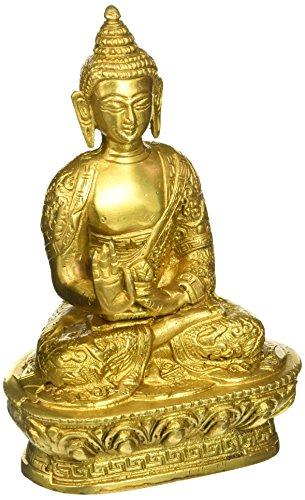 - Statuestudio Indian Tibet Gautama Buddha Mini Brass Decorative Statue Figurine/Antique Shakyamuni Earth Touching Idol for Peace & Protection/Nepal Traditional Siddhartha Sculpture-Golden