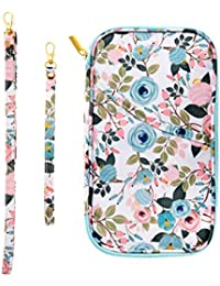 Travel Wallet Family Passport Holder RFID Blocking, Travel Document Organizer Credit Card Clutch Bag for Women and Girls Beautiful Floral Pattern 9x5 Inches