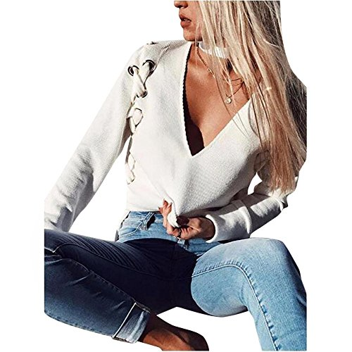 Gillberry Women Knitting V Neck Solid Long Sleeve Bandage Tops Blouse Sweater (XL, White) by Gillberry