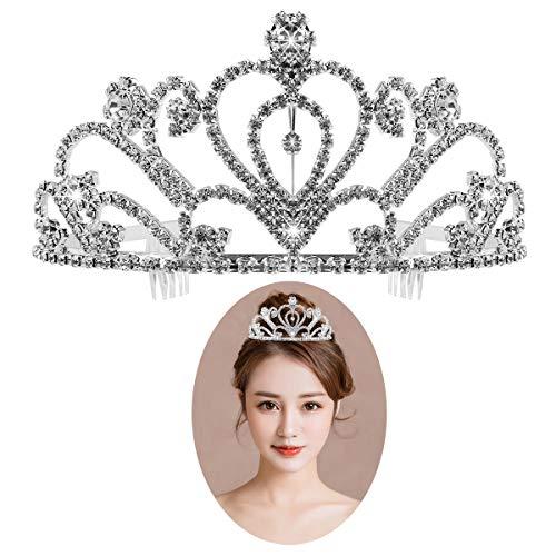 Rhinestone Tiara Crown Exquisite Headband Comb Pin Wedding Bridal Veil Birthday Tiaras ()