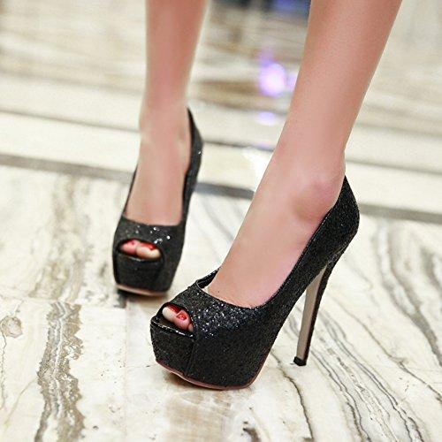 Frühling fein mit super high-Heel Peep Zehen/Wasserdichte Glitter Schuhe/Club Sandalen-D Fußlänge=21.8CM(8.6Inch)