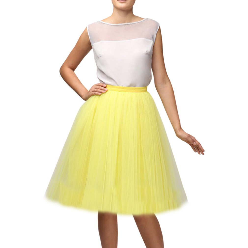 Wedding Planning Women's A Line Short Knee Length Tutu Tulle Party Skirt Large Yellow