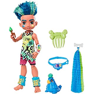 Mattel Cave Club Slate Doll (10-inch, Blue Hair) Poseable Prehistoric Fashion Doll with Dinosaur Pet and Accessories, Gift for 4 Year Olds and Up [Amazon Exclusive]