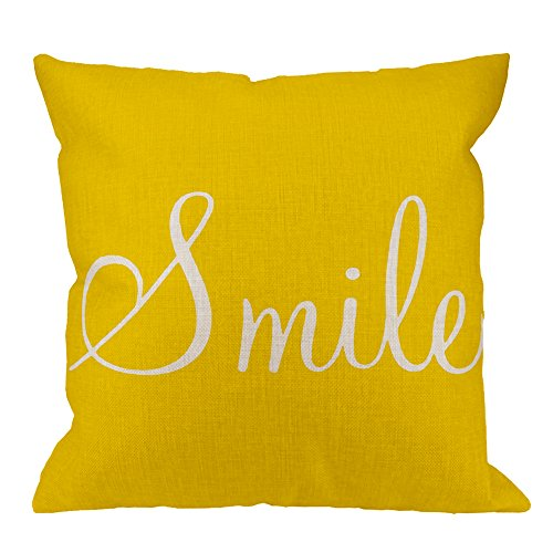 HGOD DESIGNS Smile Sunshin Pillow Case Cotton Linen Smile Sunshine Yellow Square Cushion Cover Standard Pillowcase for Men Women Home Decorative Sofa Armchair Bedroom Livingroom 18 x 18 inch