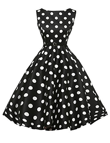 GRACE KARIN Boat Neck Retro Swing Dresses Hepburn Style Black Size L F-8 -