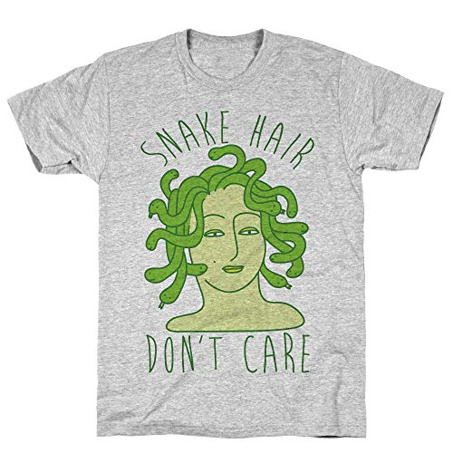 LookHUMAN Snake Hair Don't Care XL Athletic Gray Men's Cotton Tee -