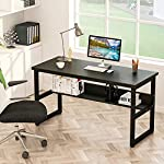 Computer Desk 110x50x74cm, LASUAVY Office Study Desk Computer PC Laptop Table Workstation with Steel Frame and Bookshelf…