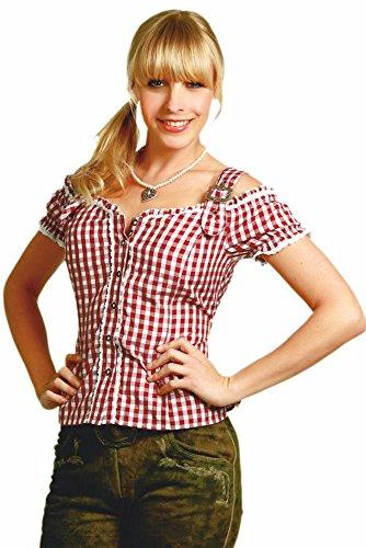 Trachtenbluse Anna, karierte Damen Bluse mit Trägern in Weinrot XL