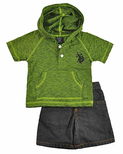 U.S. Polo Assn. Baby Boys' Hooded Henley and Denim Short, Canteen Green, 12 Months ()