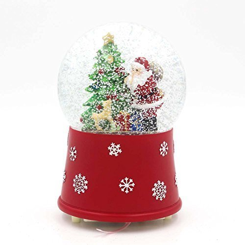 SMYER 100MM Christmas Musical Snow Globes Glitter Dome with Blowing Snowflakes & LED Water Ball (Battery Operated)