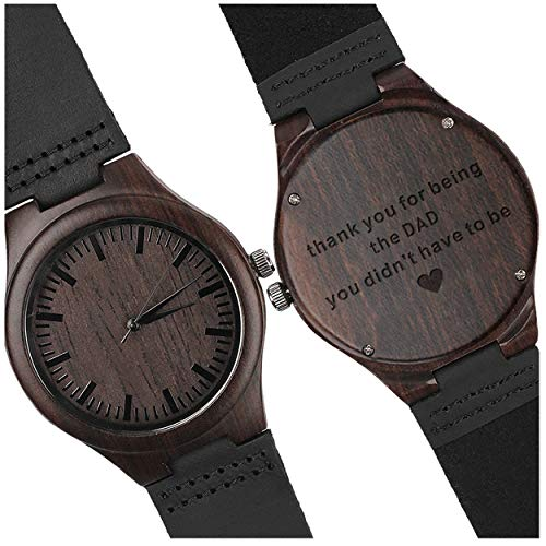 Personalized Engraved Watch - Thank You for Being The DAD You Didnt Have to Be - Fathers Day Gift for Men