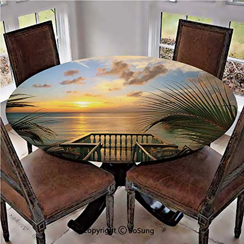 (Elastic Edged Polyester Fitted Table Cover,Mediterranean Horizon Sea from Wooden Terrace Balcony Fences Holiday Life Photo,Fits up 56